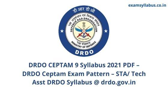 DRDO CEPTAM 9 Syllabus 2021