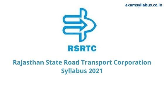 RSRTC Exam Syllabus 2021